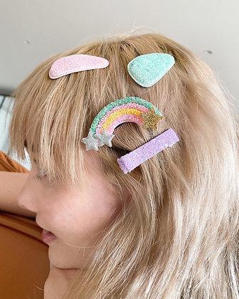 Unicorn Rainbow Hair Clip Set
