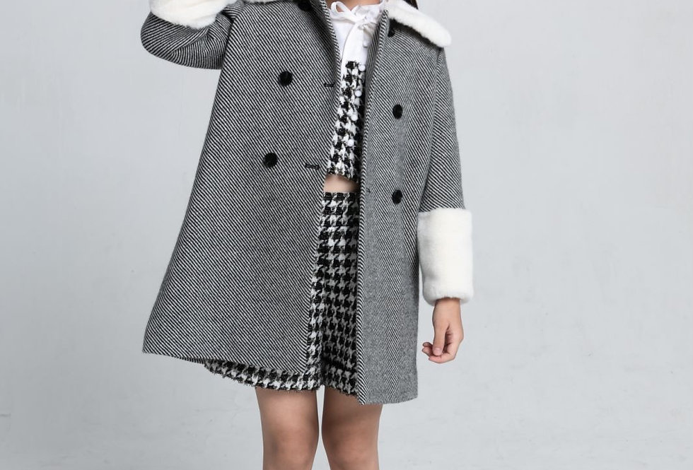 Lalumière系列- 藍白斜紋毛呢大衣