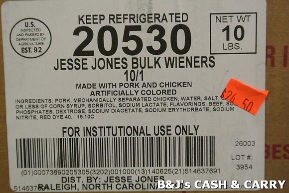 Jesse Jones Hot Dogs - 10 LB Box