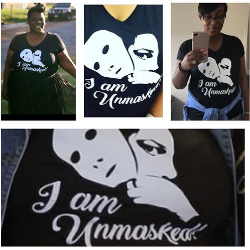 "Black V-neck ""IAmUnmasked"" Women's T-Shirt - Small - 4x large"