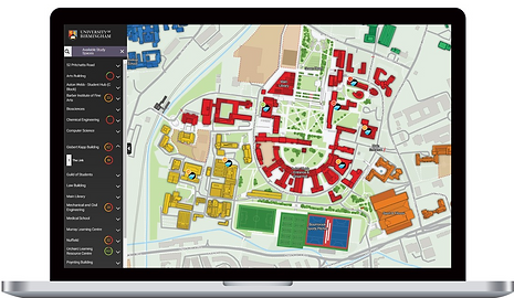 Map showing campus study space occupacy via web browser