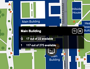 Map interface displaying PC availability in campus labslevels