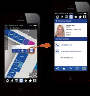 Personnel directory shown via WAi2Go app