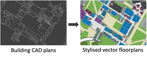 Example of stylised indoor map created from CAD plans