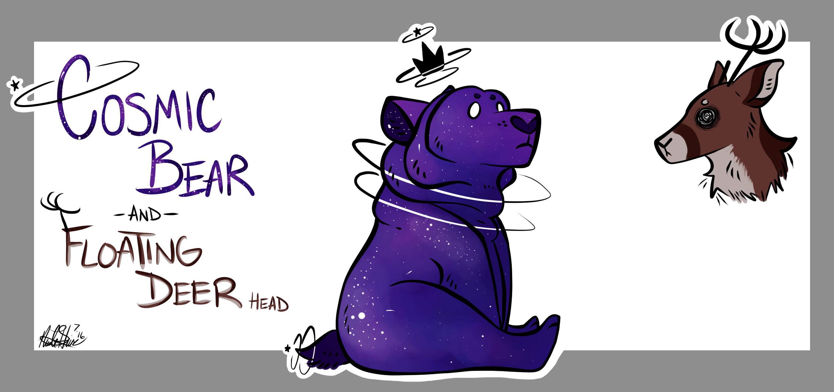 Cosmic Bear and Floating Deer Head