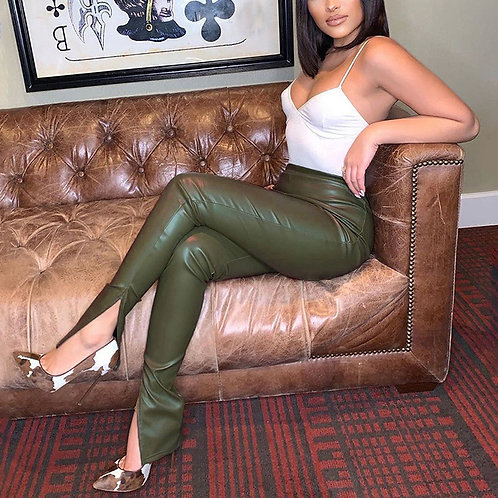 Green Pasture Leather Pants