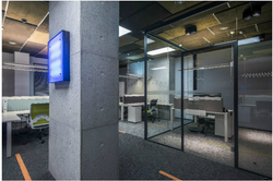 Inside glass partition