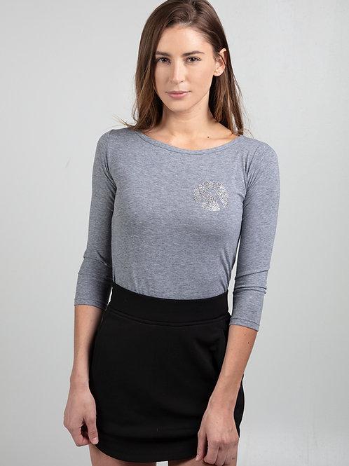 ANVIL Glitter Fitted Long Sleeve Gray (Women's)