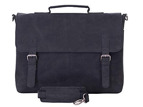 KomalC 15 Inch Black Retro Buffalo Hunter Leather Messenger