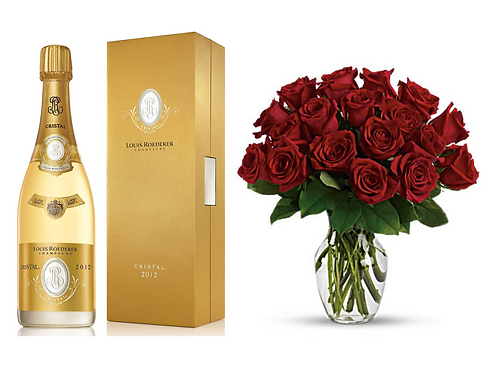 Bottle of Cristal with 2 AEVEX champagne flutes and Red Roses