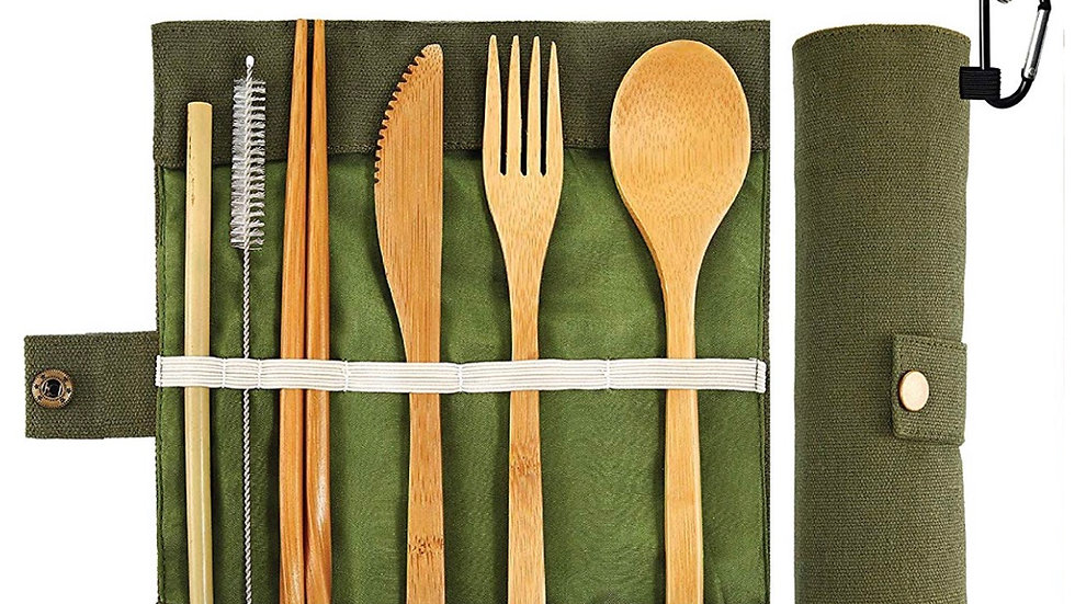 Bamboo Utensils Cutlery Set - Reusable