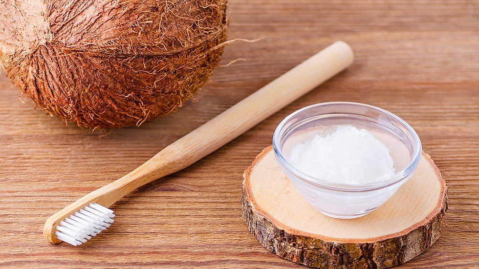 Coconut Oil (Virgin) and Bamboo toothbrush