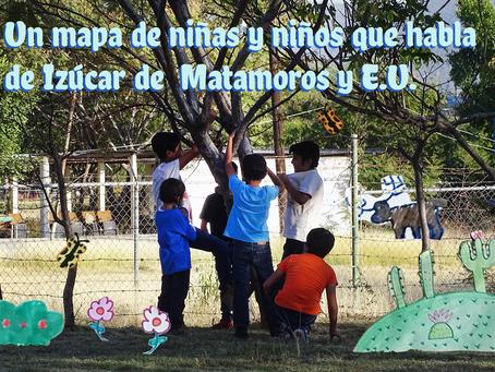 Un mapa de niñas y niños que habla de Izúcar de Matamoros y Estados Unidos