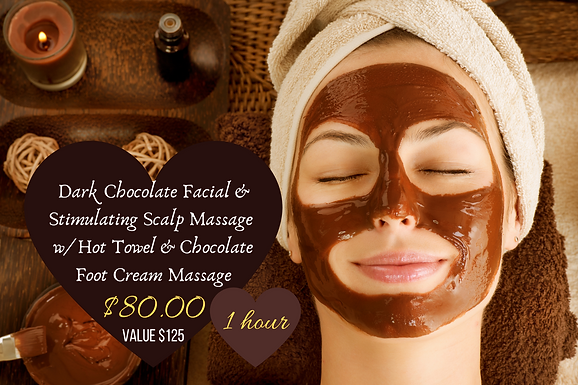 DP Dark Choc. Facial w/Scalp Massage & Hot Towel & Choc. Foot Cream Massage