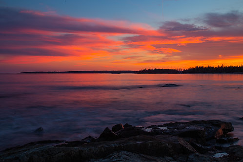 Acadia, maine, ocean, Atlantic, sunset, seascape