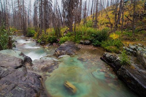 montana, glacier national park, gorge, landscape, nature, water, baring creek