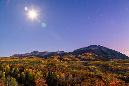 kebler pass, Colorado, aspens, fall, autumn, moon, stars, Rocky Mountains