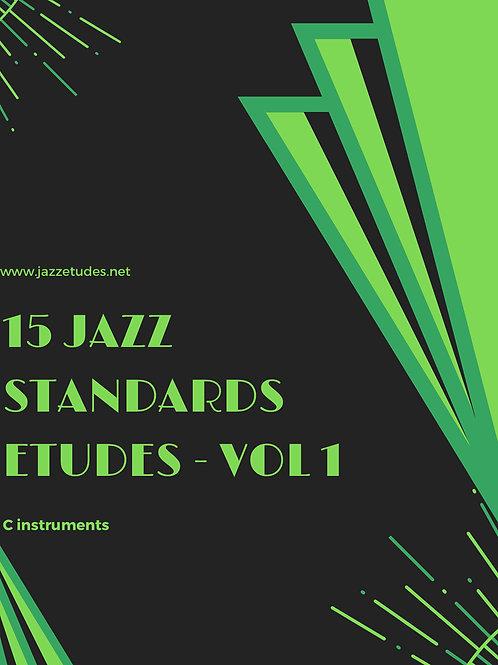 15 jazz standards, concert pitch - jazz etudes - vol 1