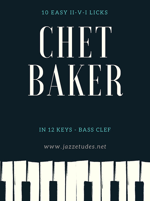10 easy major II-V-I Chet Baker licks in 12 keys - Bass clef