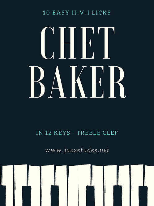 10 easy major II-V-I Chet Baker licks in 12 keys - Treble clef