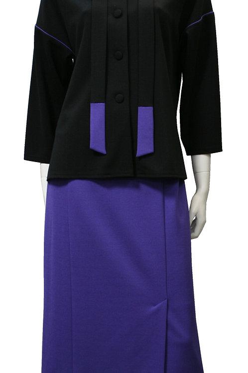 жакет с кантами и юбка с ассиметричными щлицами