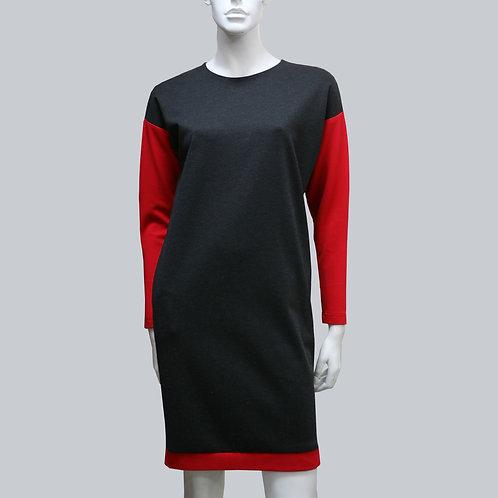 платье с красными рукавами