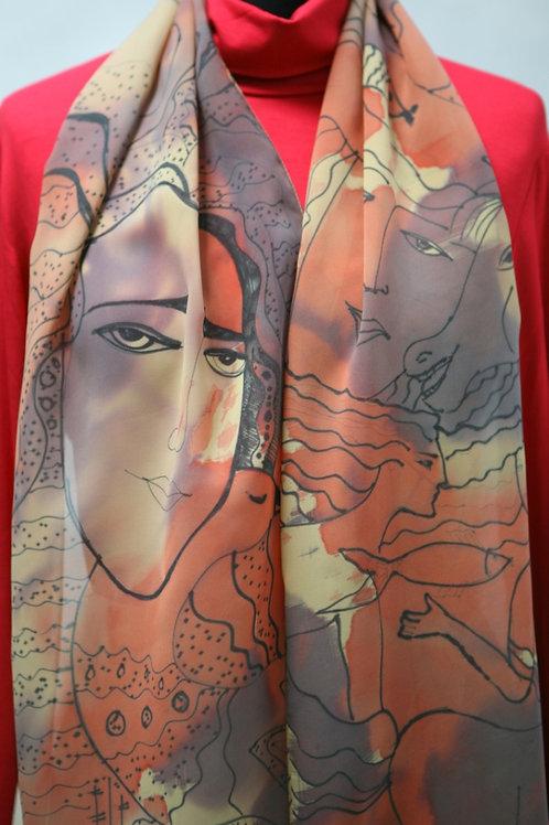 шарф с ручной росписью