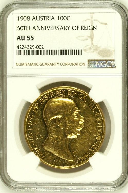 オーストリア100コロナ金貨 1908 雲上の女神