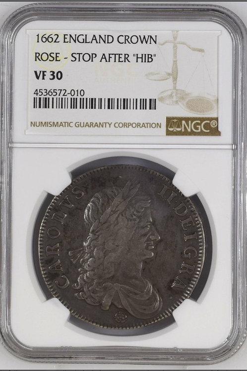 イギリスクラウン銀貨 1662 チャールズⅡ