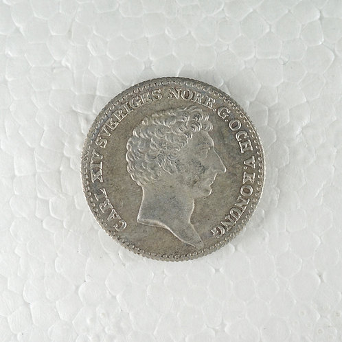 スウェーデン 1/6リクスダラー銀貨
