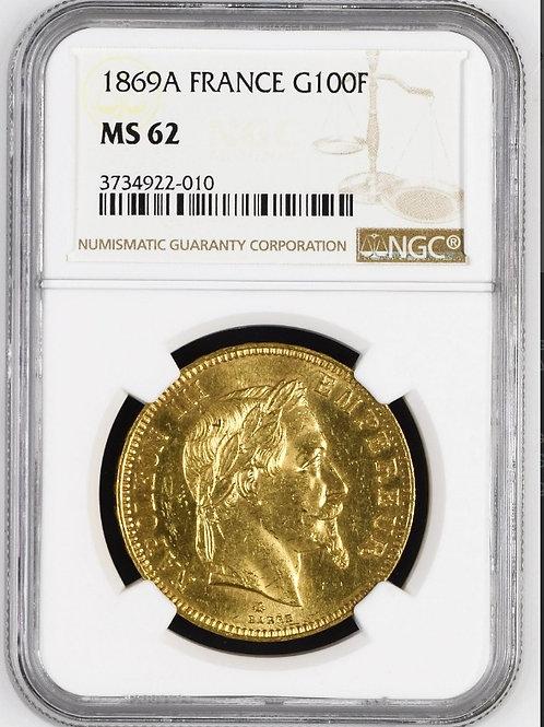 フランス100フラン金貨 1869A ナポレオンⅢ 有冠