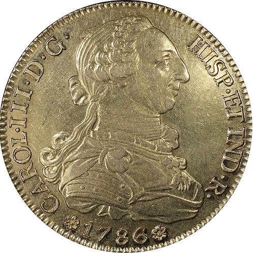 スペイン 8エスクード金貨 1786SC カルロスⅢ