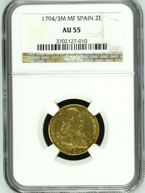 スペイン2エスクード金貨 1794/3M MF カルロスⅥ