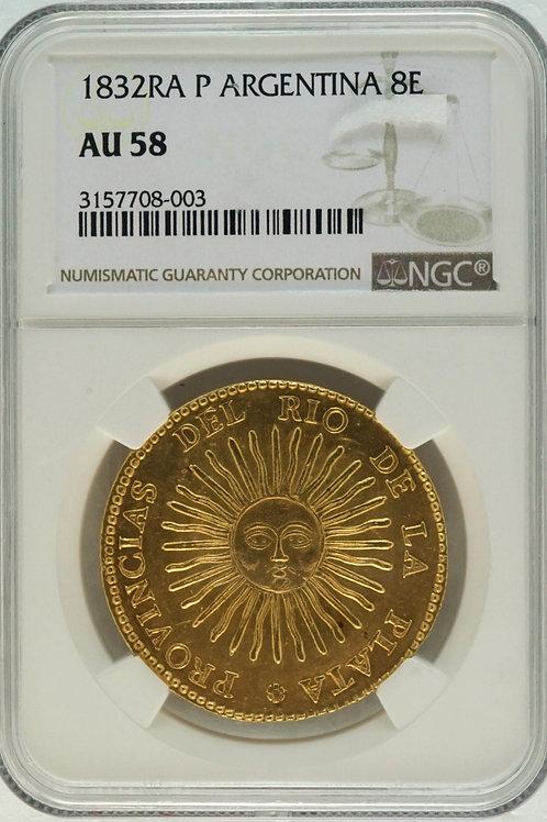 アルゼンチン エスクード金貨 ARGENTINA 8Escudos1 1832 輝く太陽の顔 AU58