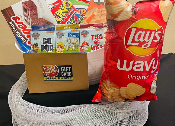 Game Night Basket w/ Gift Card - $100 for 5 tickets