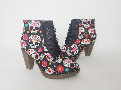 Candy skull women ankle boots