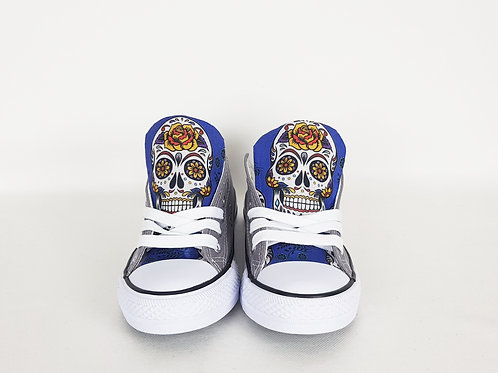 Blue Day of the Dead shoes, custom women sneakers