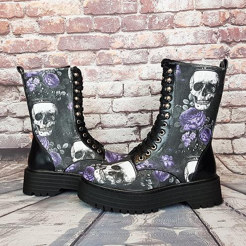 Skulls and violet roses chunky platform boots