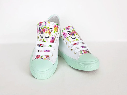 Floral unicorn mint sneakers, customised women shoes