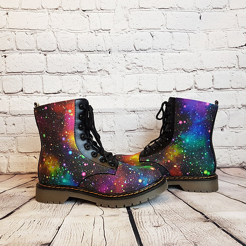 Rainbow galaxy women ankle boots