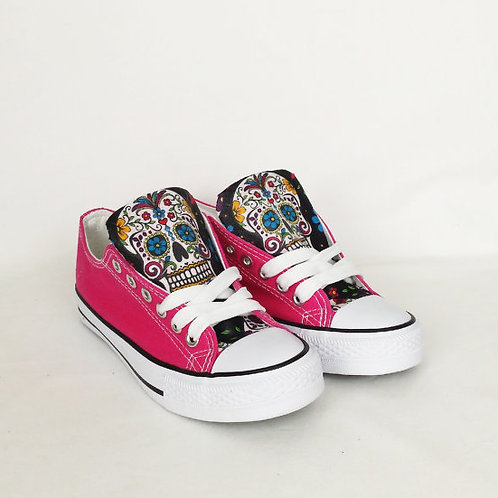 Day of the Dead Shoes, Pink and Black Custom Pumps