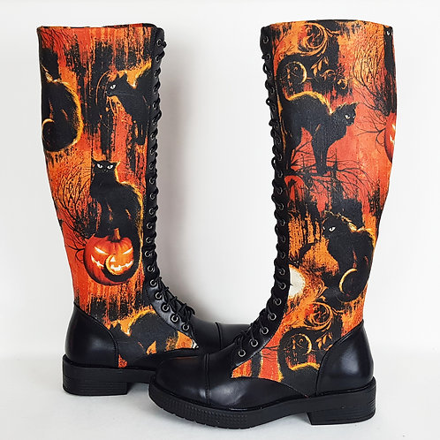 Halloween long boots, customised black cat, pumpkin print knee boots