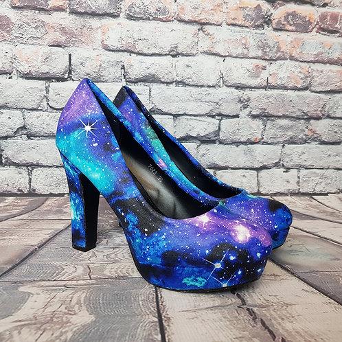 Galaxy custom made heels, purple nebula custom shoes