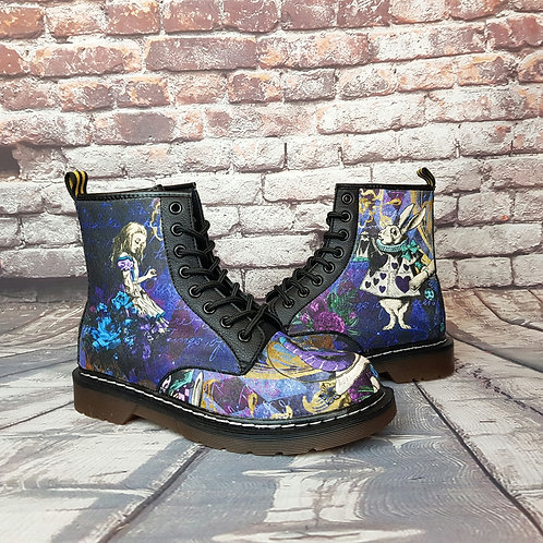 Alice in Wonderland boots, custom made shoes