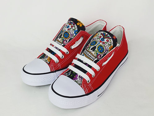 Day of the Dead Shoes, Red and Black Custom Pumps