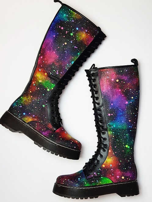 Rainbow galaxy knee high boots, alternative footwear