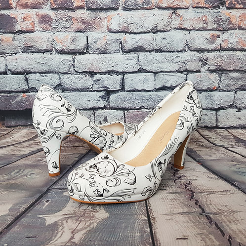 White heels with skulls, gothic wedding shoes