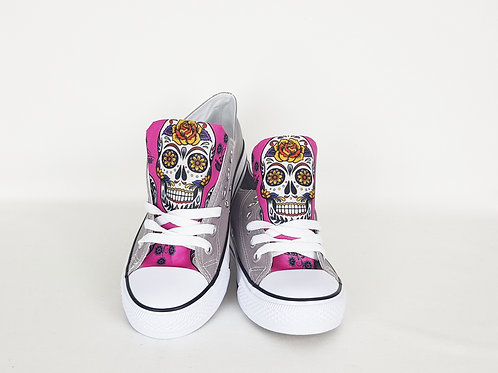 Pink Day of the Dead sneakers, customised women shoes