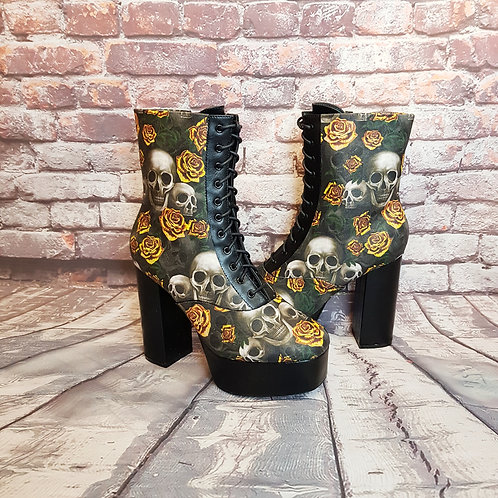 Skulls and yellow roses platform boots
