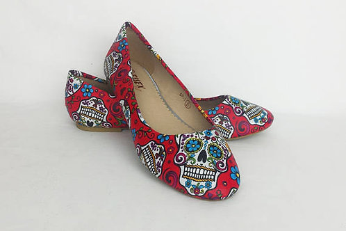 Red Day of the dead custom dolly pumps